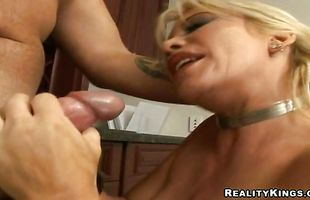 Dazzling mature blonde Jenna Lynn has her fake knockers squeezed before being drilled