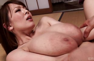 Lascivious girlie Hitomi Tanaka likes to play with her tits while getting fucked