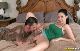 Inviting Tacori Blu with impressive tits strips and seductively spreads in front of her pal