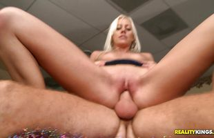 Wicked blonde gf Kacey Villainess with round tits chokes on dick before taking it balls deep