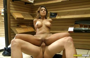 Horny mature latin bombshell Miranda Jay with massive tits enjoys bouncing on hunk hard and fast