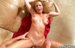 Fascinating blonde Jodi West took stud's sausage deep down her throat and sucked it very good