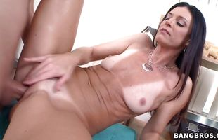 Naughty brunette mature India Summer with curvy tits gets to have the fuck that's romantic as fuck