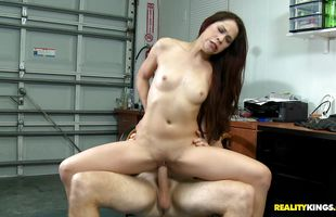 Dishy brunette Katt Lowden with firm tits takes a rough plowing from behind