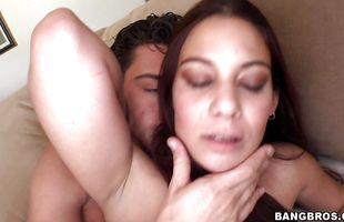 Delectable brunette mature Ryder Skye with round tits is in heaven while being impaled by hard cock