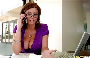 Breathtaking brunette milf Sarah is fucking lover just because she likes to be very nasty