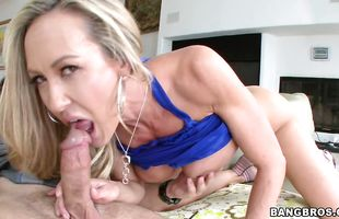 Engaging mature blonde Brandi Love receives a throbbing fang in her big butt