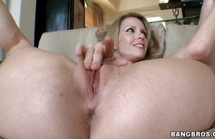 Talented fellow enjoys groping blonde mature Courtney Cummz's luscious curves during foreplay