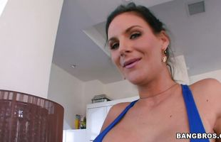 Cunning mature cutie Phoenix Marie deepthroats and rides a long and hard phallus