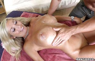 Admirable blonde housewife Evita Pozzi bends over for a vigorous fuck session