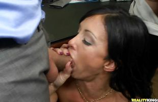 Lewd mature lady Jewels Jade has her skinny twat thoroughly banged from behind