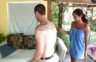 Playful latin minx Isis Love is fucking lad and enjoying while getting ready to cum