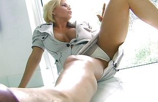Gorgeous blonde floozy Diamond Foxxx with firm tits is eagerly sucking fucker's pecker and getting fucked the way she likes