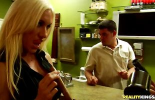 Ambitious mature blonde floosy Hunter with huge tits eagerly bounces on a large slim jim