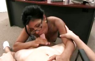 Sugary mature latina lady Isabella with firm natural tits is getting her wet vagina licked before sex