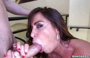 Cute mature brunette Julianna Vega eagerly sucks and rides