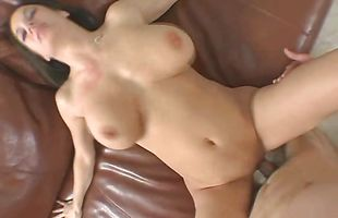 Astonishing brunette chick Stephanie with huge natural tits blows her lad before fucking him