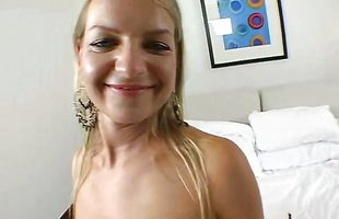 Staggering mature blonde Sarah Sun with large natural tits is moaning softly as lover taste her wet taco