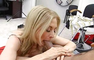 Delightful mature Nina Hartley sucks enormous huge lovestick before getting it in wet copher
