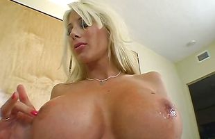 Dirty chick Puma Swede is sucking a long lever and gagging on it
