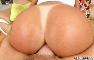 Stupendous mature brunette honey Monica Santhiago with large natural tits furiously jumps on the throbbing lever