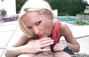 Spicy blonde Dianna Doll with round natural tits rapidly toys her nympho clit while being fiercely drilled