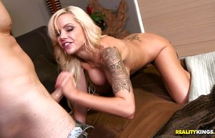 Delectable blonde darling Nina Elle got tang fucked in a doggy style position