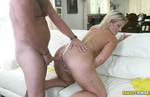 Aphrodisiac blonde Kristy Kelly in shoes is getting fucked very hard from the back