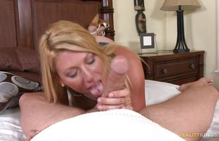 Engaging blonde Tara gets her muff dived and sucks donga